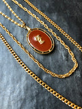 Goldette Double Side Oval Red Enamel Gold Layering Necklace