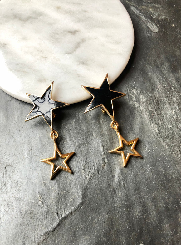 Twin Star Black Enamel Gold Dangle Earrings