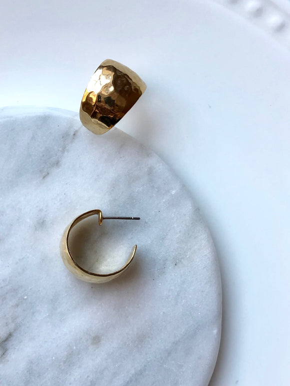 Minimalist Rugged Gold Half Hoop Earrings