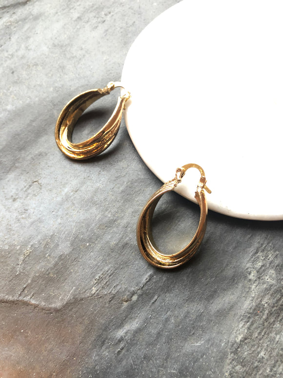 Twisted Oval Gold Hoop Earrings