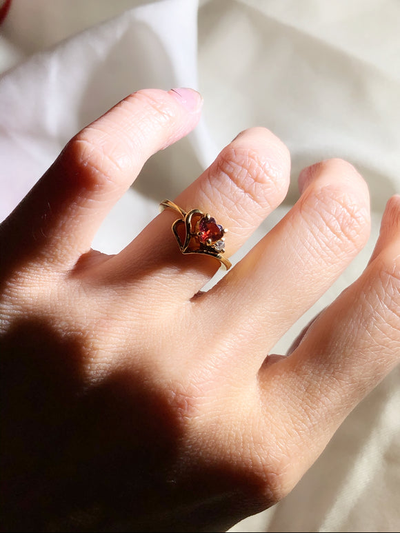 Hollowed Heart Red Gemstone Gold Engagement Ring