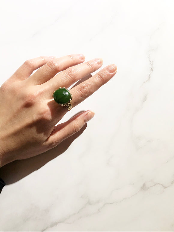 Round Green Cabochon Jade Gold Cocktail Ring