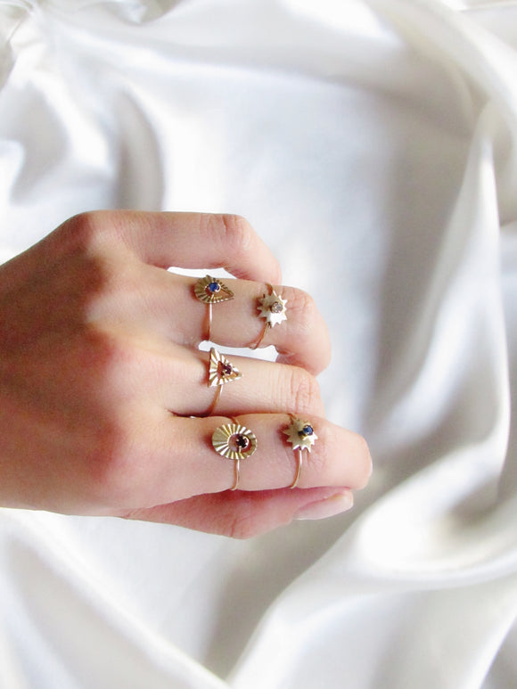 5 PCS Tiny Geometric Colorstone Gold Ring Set