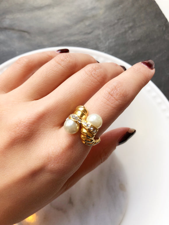 Victorian Twin Pearl Gold Cocktail Ring
