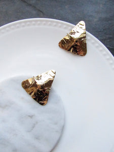 Rugged Triangle Gold Statement Earrings