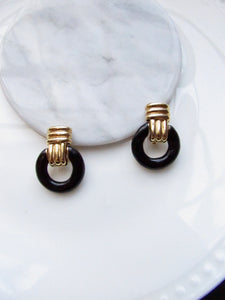Victorian Black Doorknocker Gold Statement Earrings