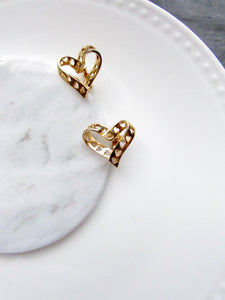 Hollowed Heart Gold Statement Earrings