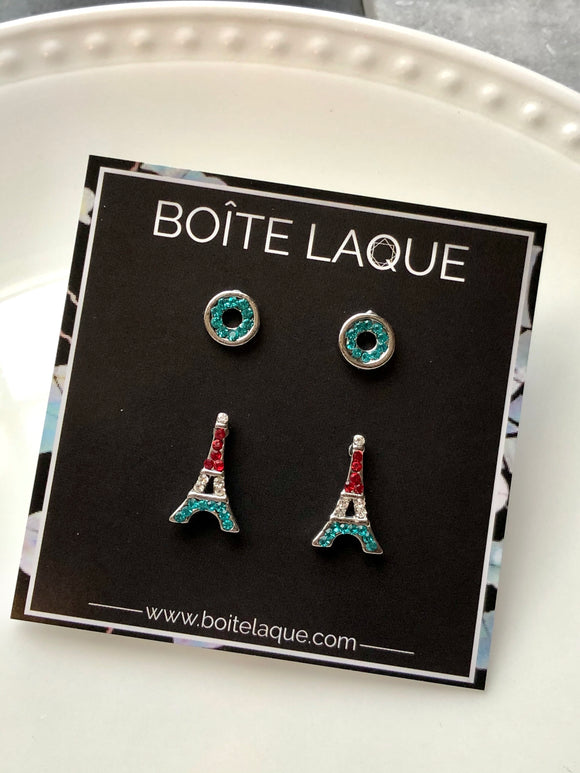 2 Pairs Mix Blue Red Wreath & Eiffel Tower Earrings Set