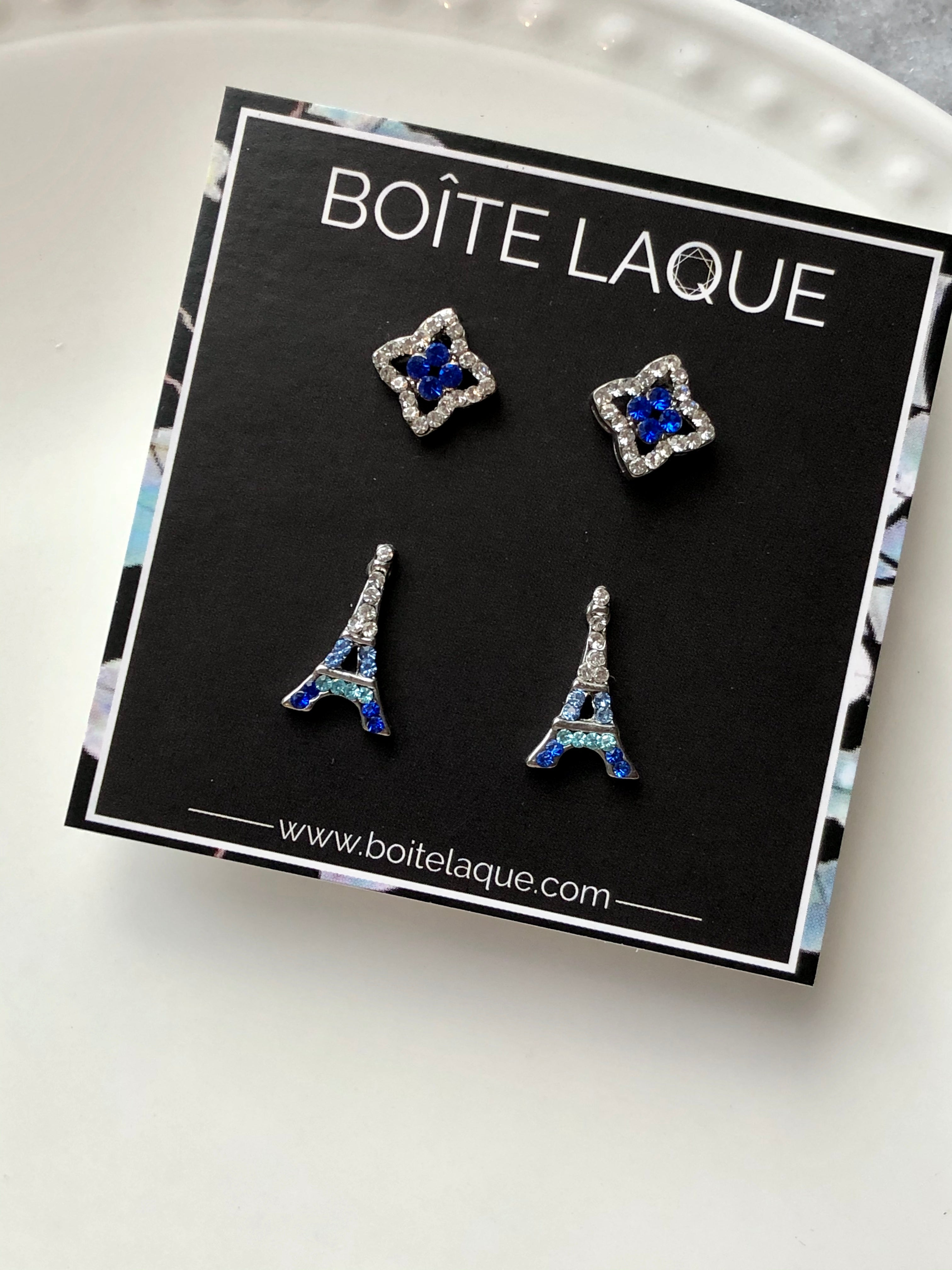 2 Pairs Mix White Blue Rhombus & Eiffel Tower Earrings Set