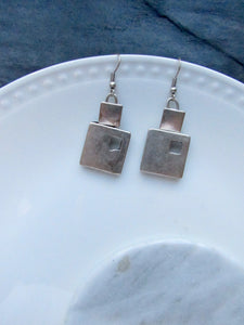 Minimalist Square Silver Dangle Earrings