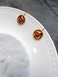 Winnie The Pooh Disney Gold Pierced Earrings