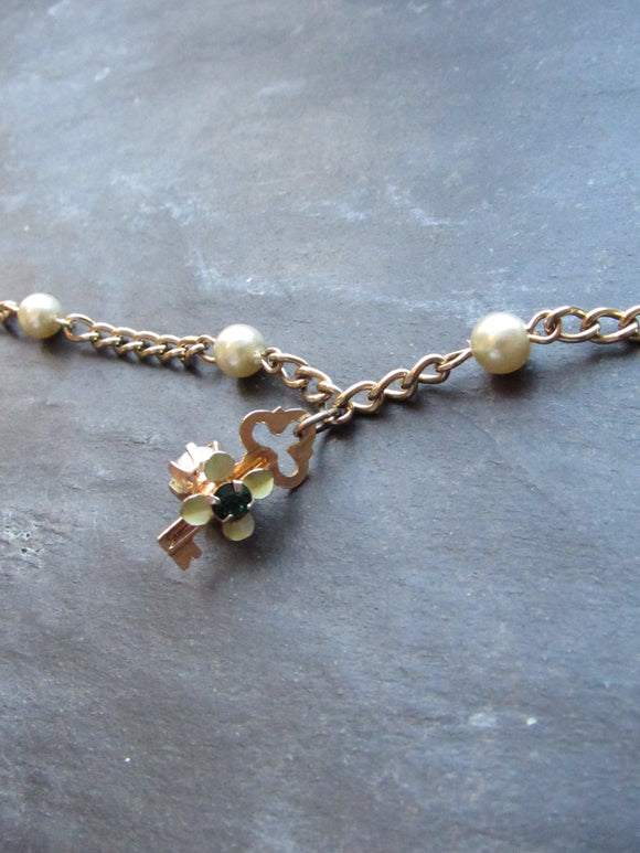 Victorian Key Pearl Bead Gold Anklet