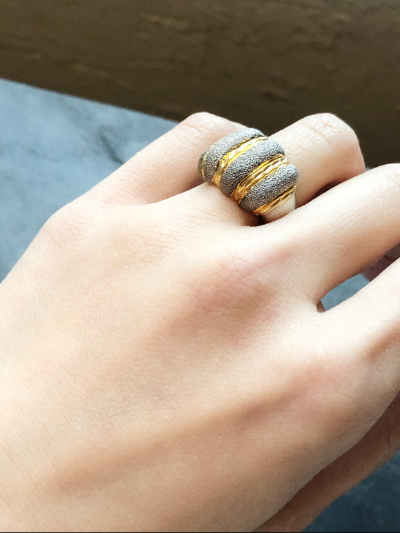 Thailand Gold Wash Stripe Silver Cocktail Ring