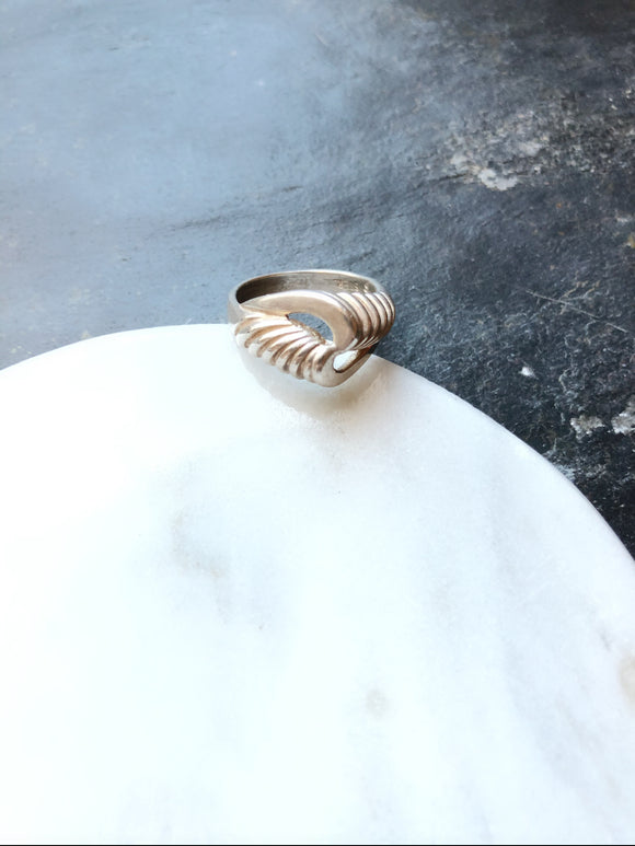 Abstract Twisted Silver Cocktail Ring
