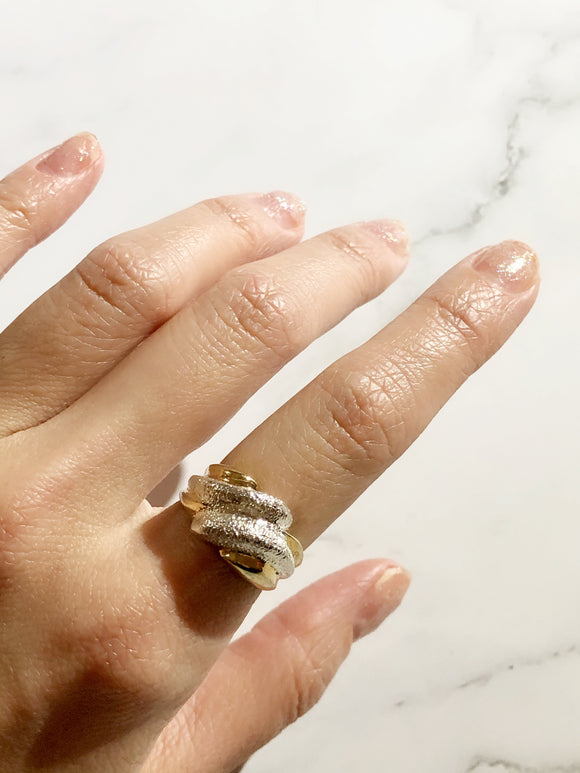 UTC 925 Abstract Crisscross Silver Gold Washed Cocktail Ring