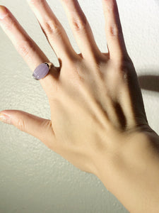 Horizontal Oval Purple Lavender Jade Silver Cocktail Ring