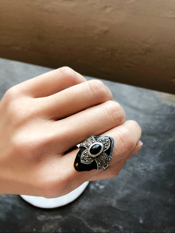 Art Deco Black Marcasite Onyx Silver Cocktail Ring