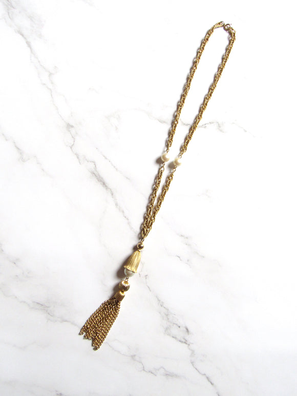 Boho Chic Pearl Beads Gold Tassel Necklace