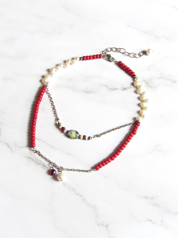 Boho Chic Pearl Coral Beads Silver Double Neckalce