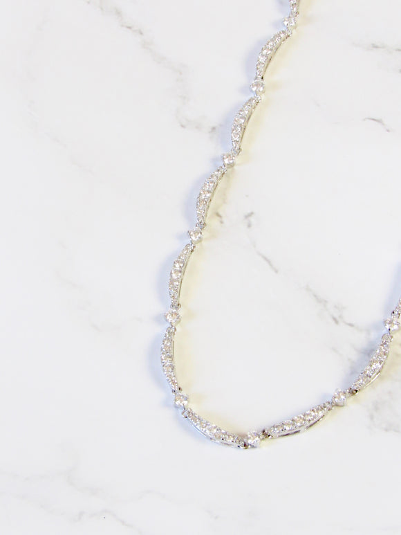 Sparkled Zircon Chain Silver Necklace