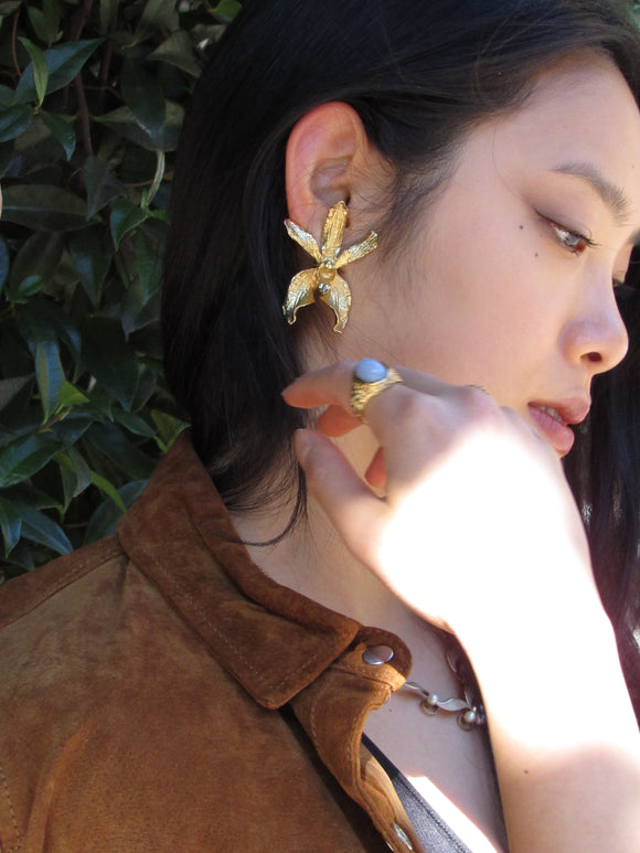 Orchid Floral Gold Statement Earrings