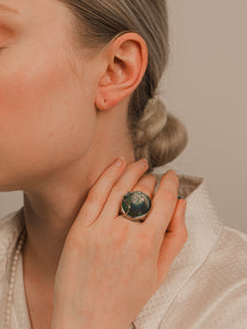Circle Blue Calcite Rhodium Statement Ring