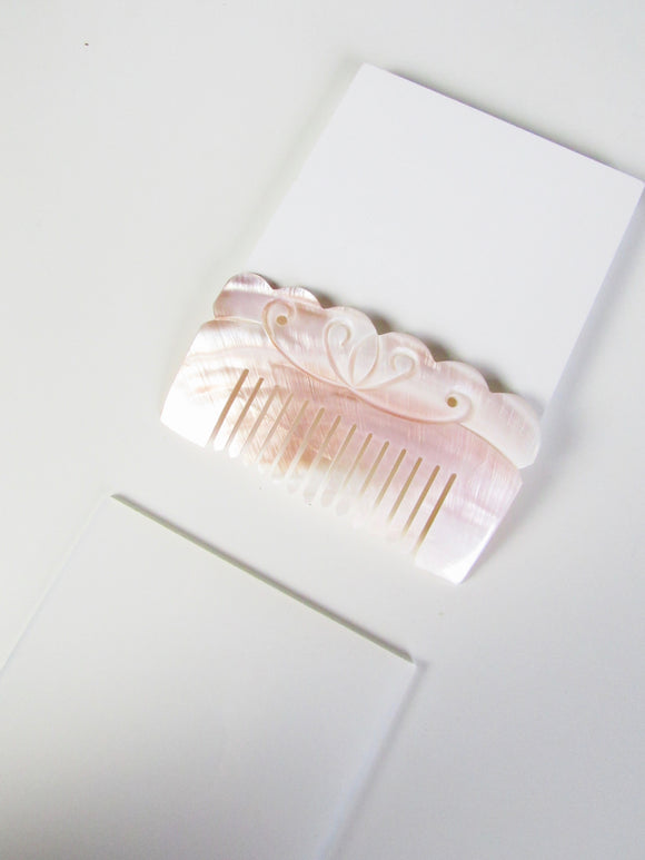 Floral Engraved Natural Seashell Comb