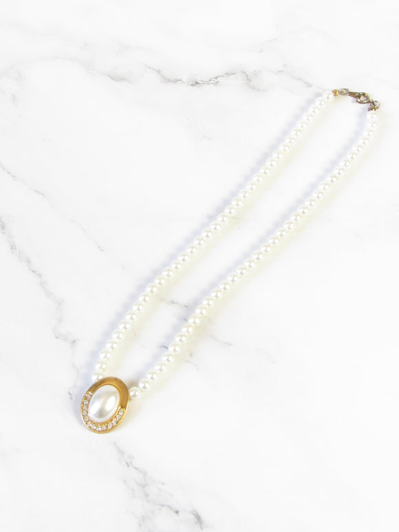 Oval Pearl Beads Gold Pendant Necklace