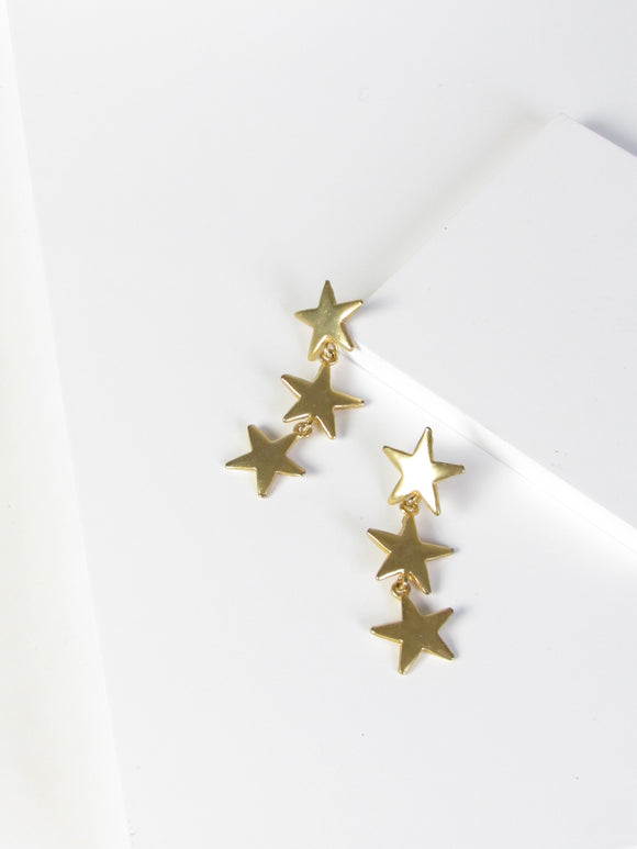Three Stars Gold Dangle Earrings