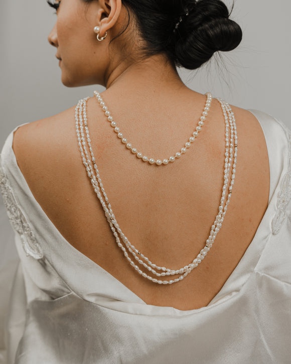 Three Strand Long String Pearl Necklace