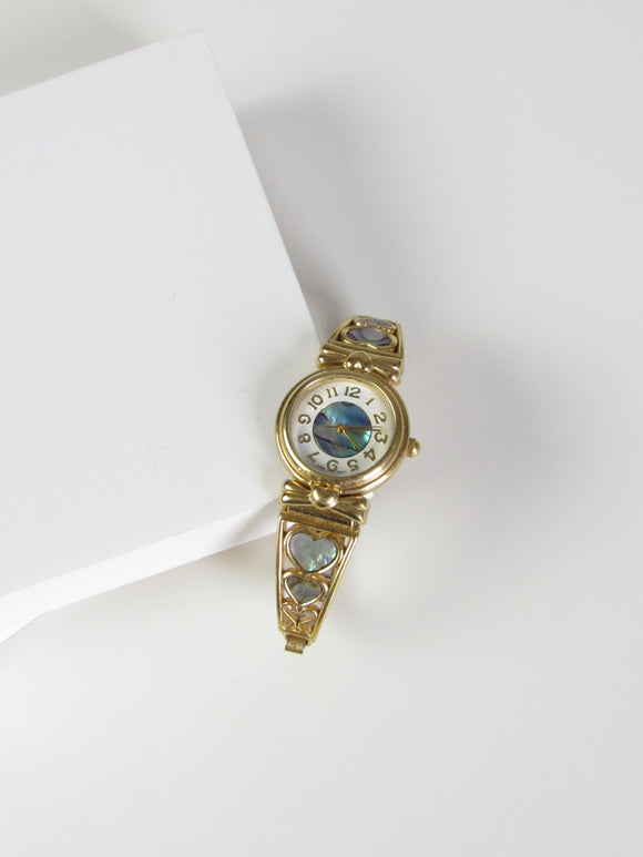 Heart Mother of Pearl Gold Tone Ladies Watch