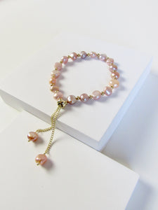 Rose Pink Genuine Baroque Pearl Beads Gold Bracelet