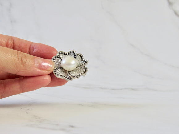 Prairie Rose White Pearl Diamond Silver Pendant Brooch
