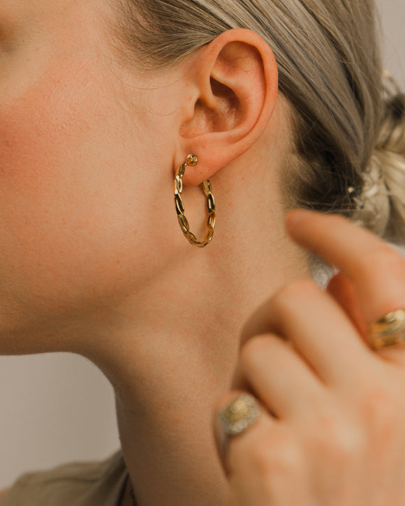 Thin Braid Gold Hoop Earrings