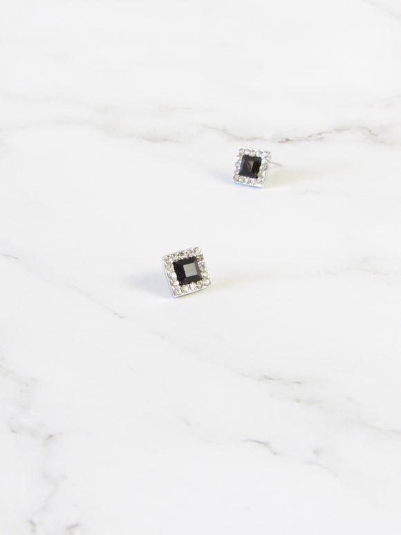 Black Cube Zircon Steel Pierced Earrings