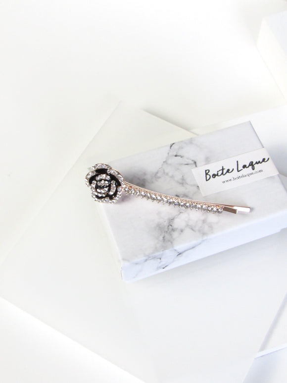 Rose Crystal Rose Gold Plated Bobby Pin