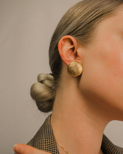 Monet Circle Gold Ribbed Dome Earrings
