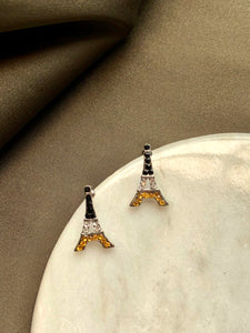 Tiny Eiffel Black Gold Swarovski Crystals Stud Earrings