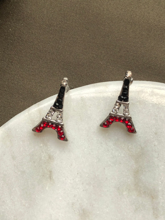 Tiny Eiffel Black Red Swarovski Crystals Stud Earrings