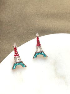 Tiny Eiffel Red Blue Swarovski Crystals Stud Earrings