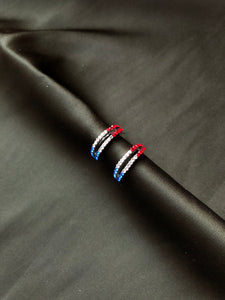 Dainty Two Line French Flag Crystals Hoops Earrings