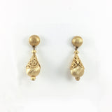 Vintage 70s Signed Monet Classic Embossed Gold Bulb Clip-on Earrings