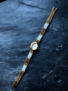 Gem Time Rectangle Blue Nephrite Jade Gold Ladies Watch