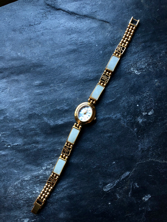 Vintage Blue Nephrite Jade Gold Ladies Watch