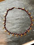 Art Deco Mulberry Garnet Beads & Gold Charm Necklace