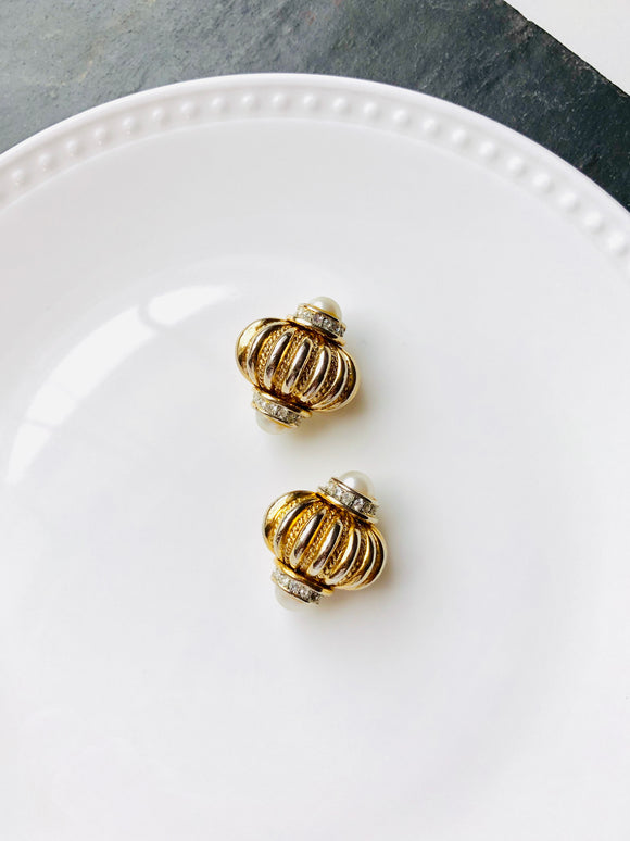 Graft Victorian Pearl Gold Statement Earrings