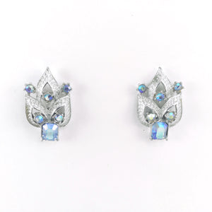 Sparkle Elegant Blue Aurora Borealis Vintage 20s Signed Coro Rhinestone Earrings | Holiday Gift
