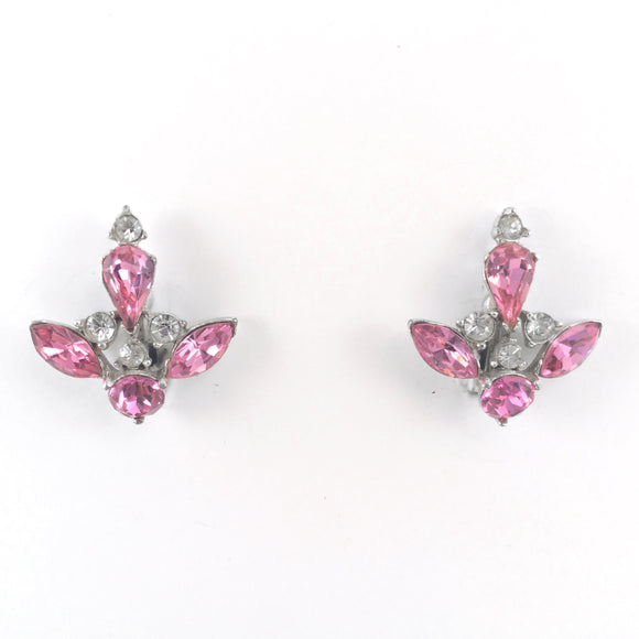 Vintage 50s Signed Bogoff Art Deco Sparkle Rhinestone Clip-on Earrings