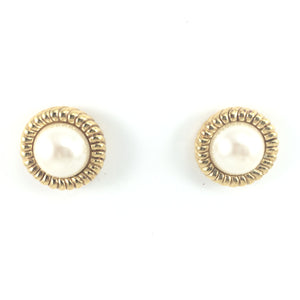 Vintage Classic 70s Signed Carolee Clip-on Gold Framed Pearl Earrings