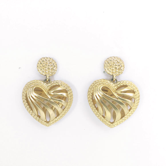 80s Vintage Hollow-out Heart Dangle Pierced Earrings